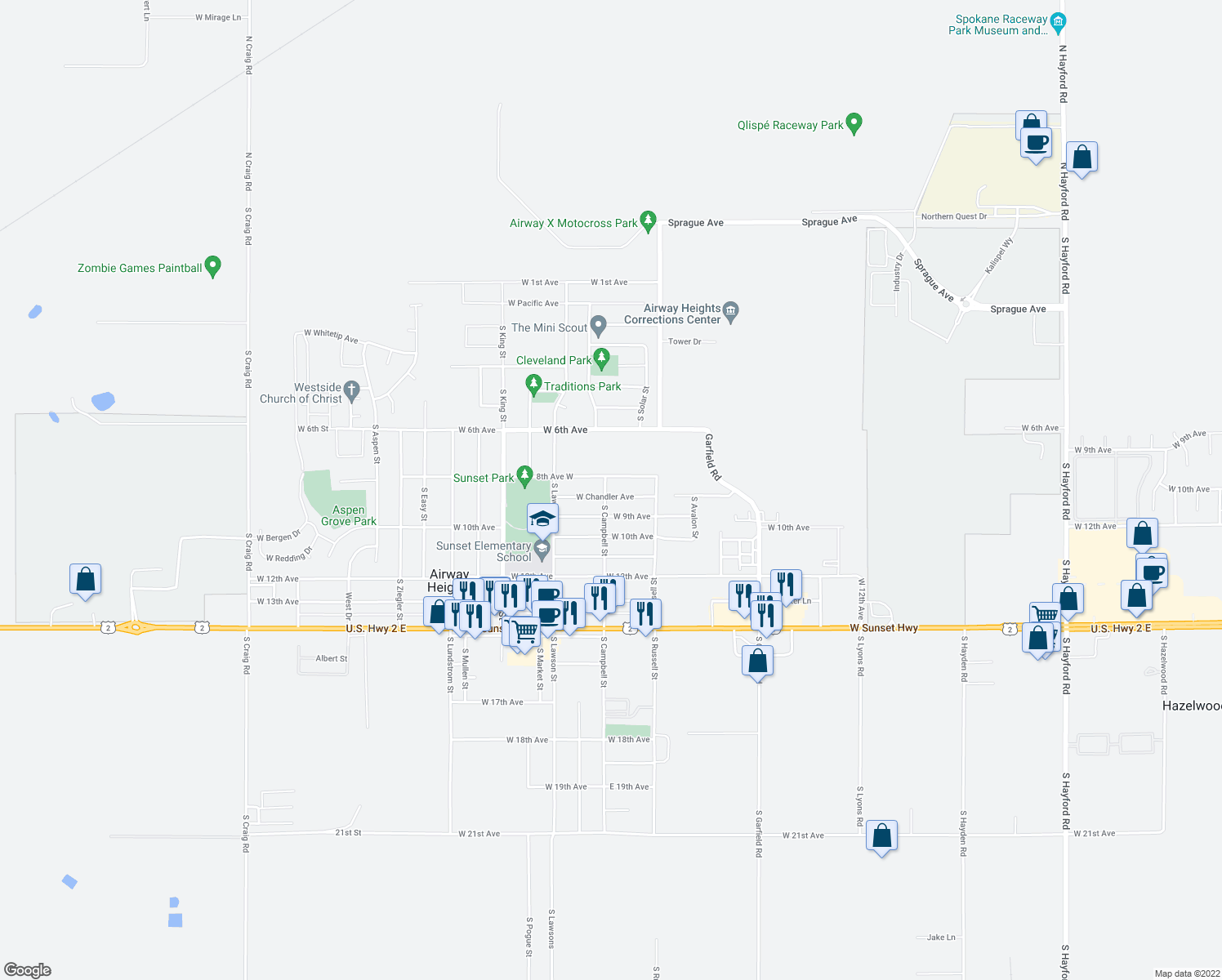 map of restaurants, bars, coffee shops, grocery stores, and more near 12407-12699 West Chandler Avenue in Airway Heights