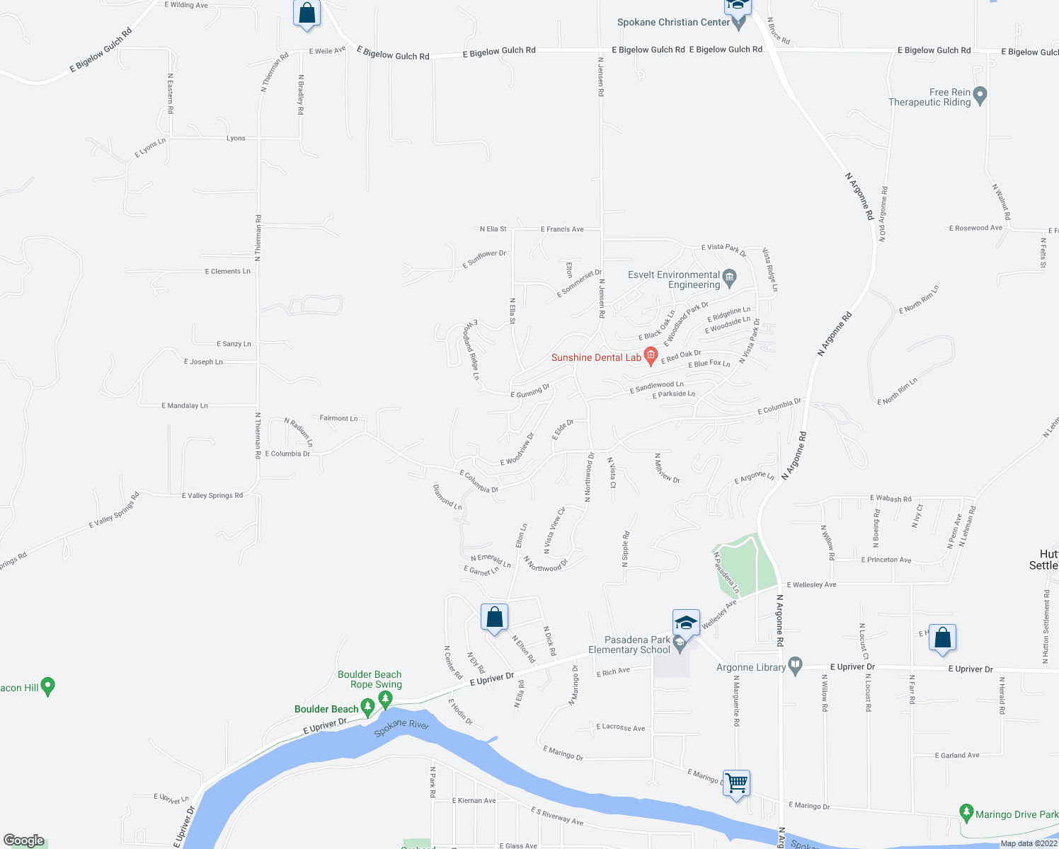 map of restaurants, bars, coffee shops, grocery stores, and more near 8005 East Woodview Drive in Millwood