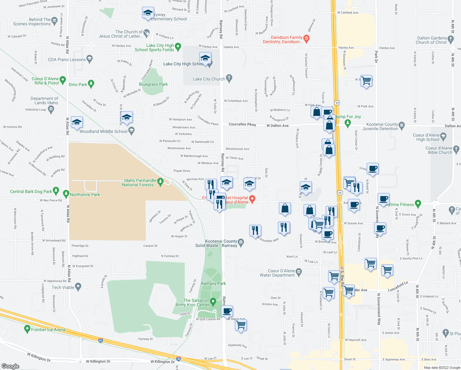 map of restaurants, bars, coffee shops, grocery stores, and more near 4909 North Jasmine Lane in Coeur d'Alene