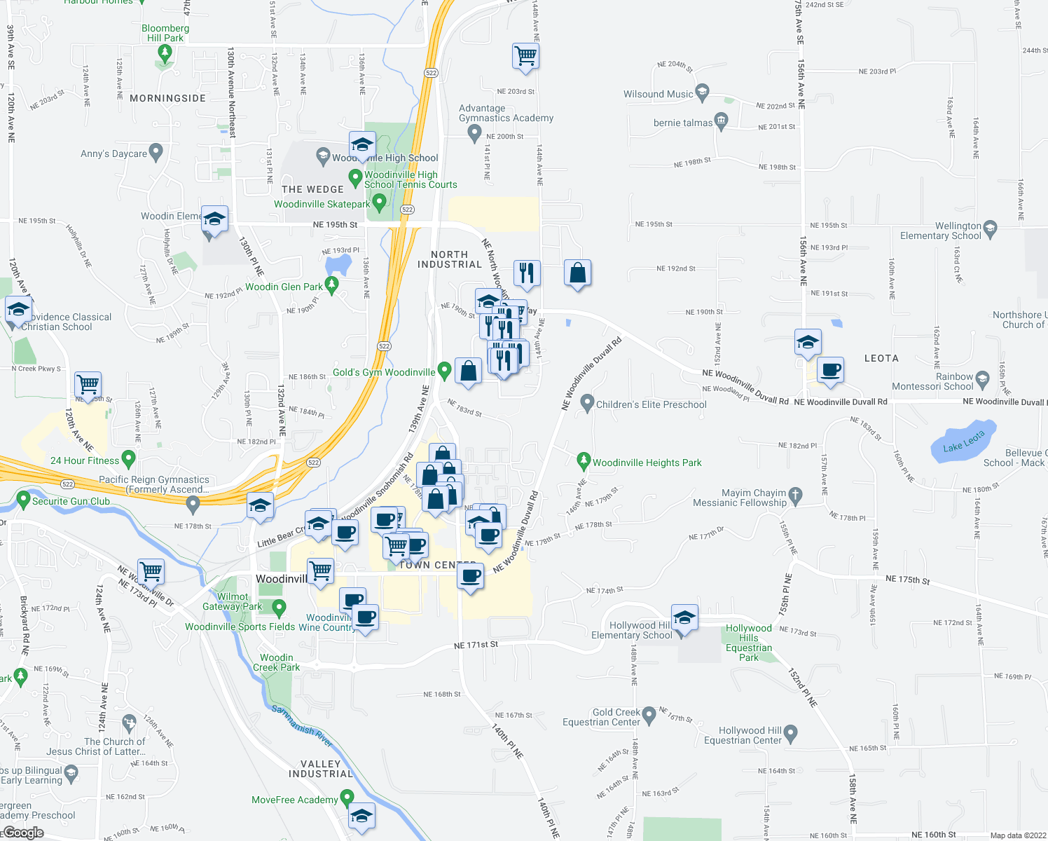 map of restaurants, bars, coffee shops, grocery stores, and more near 18250 142nd Avenue Northeast in Woodinville
