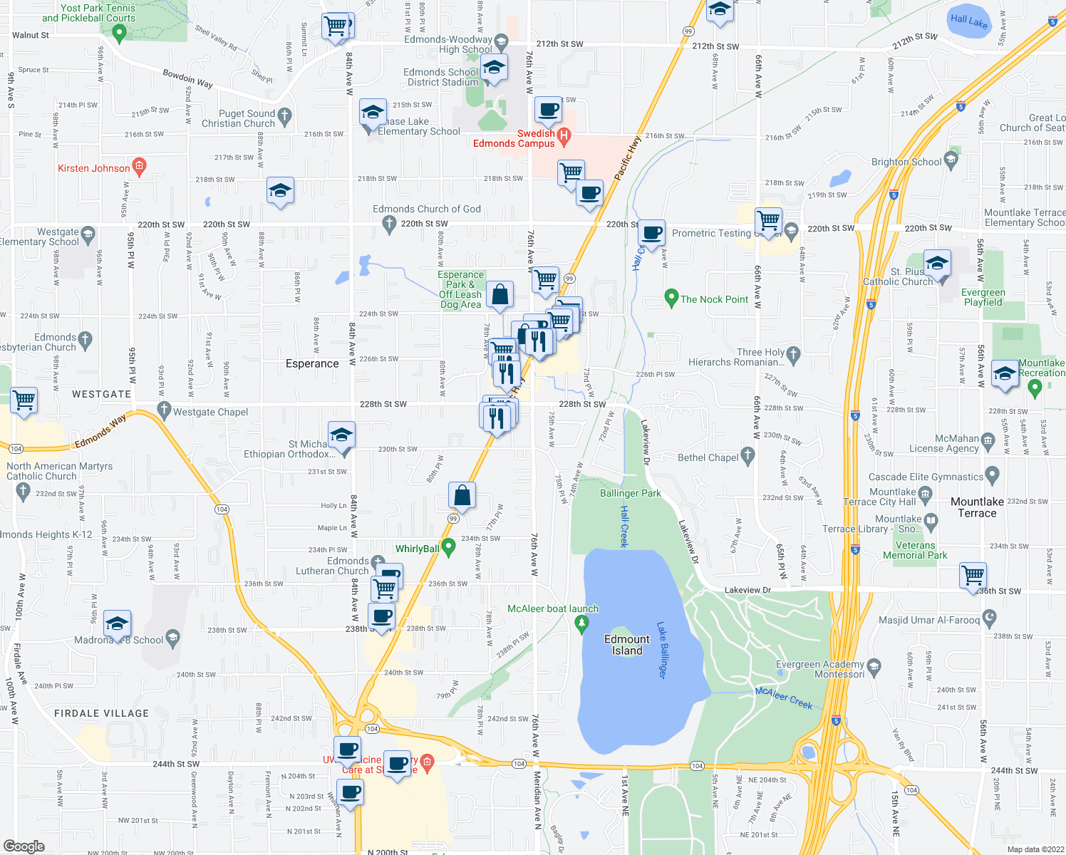 map of restaurants, bars, coffee shops, grocery stores, and more near 22853-22903 76th Avenue West in Edmonds