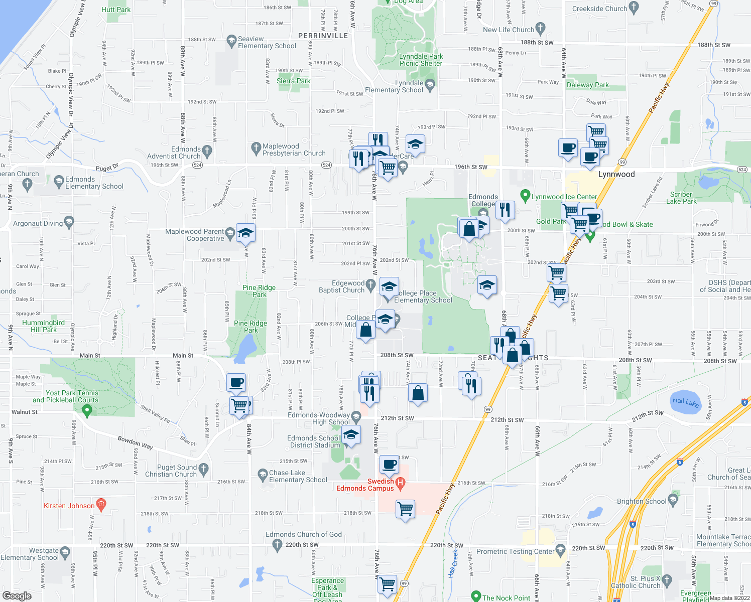 map of restaurants, bars, coffee shops, grocery stores, and more near 76th Ave W in Edmonds