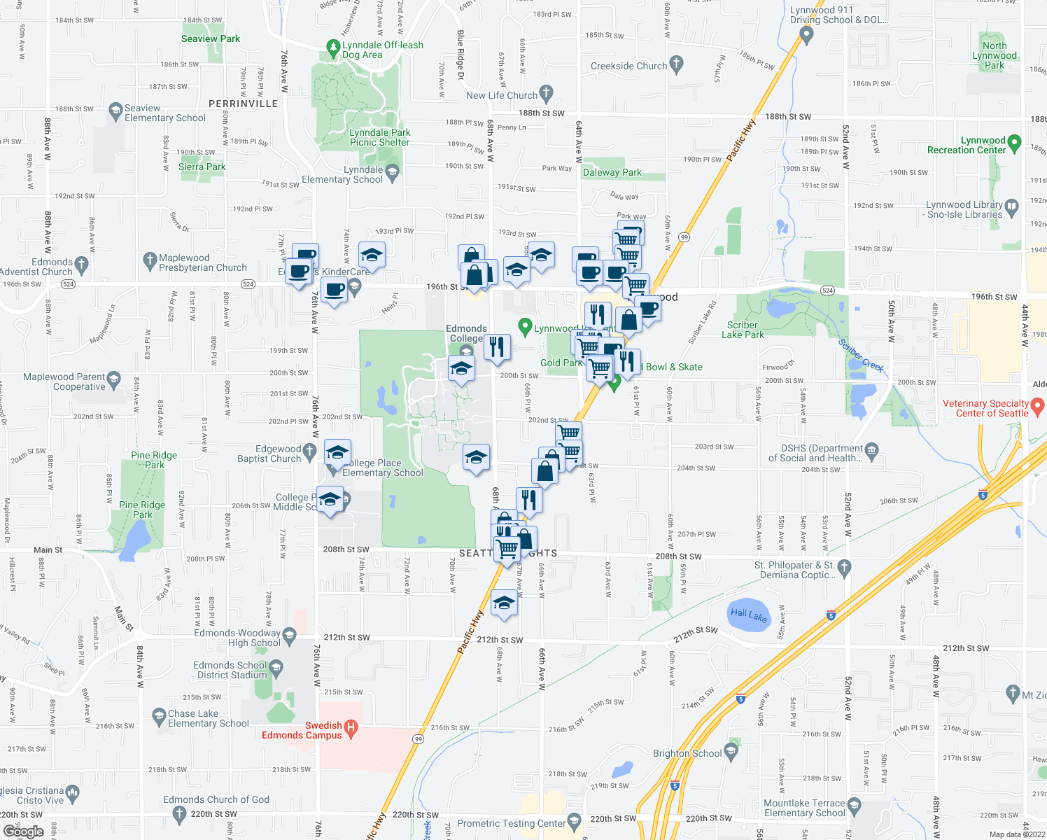 map of restaurants, bars, coffee shops, grocery stores, and more near 6706 202nd Street Southwest in Lynnwood