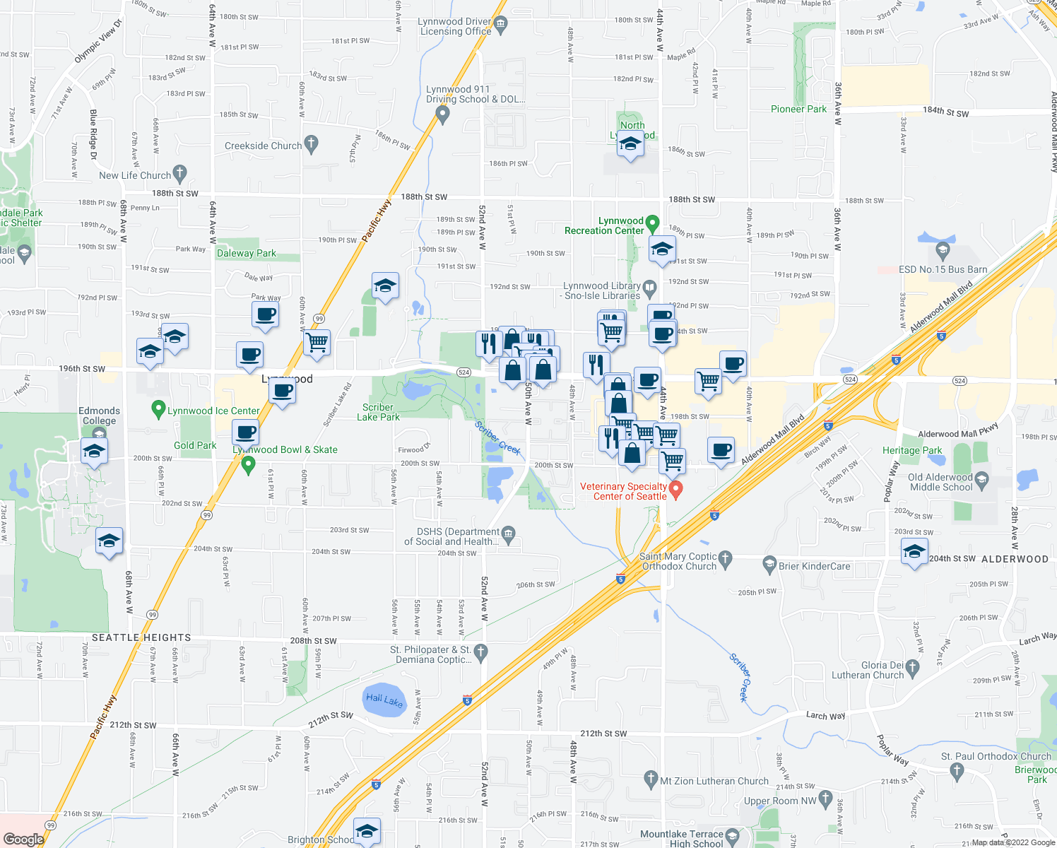 map of restaurants, bars, coffee shops, grocery stores, and more near 19740-19798 50th Ave W in Lynnwood