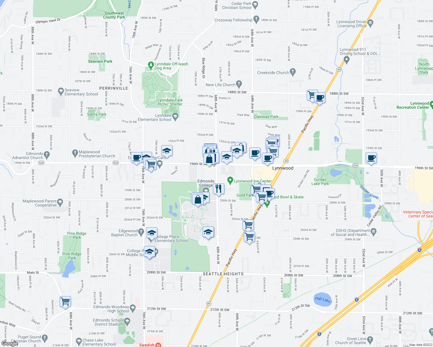 map of restaurants, bars, coffee shops, grocery stores, and more near 19725-19931 68th Avenue West in Lynnwood