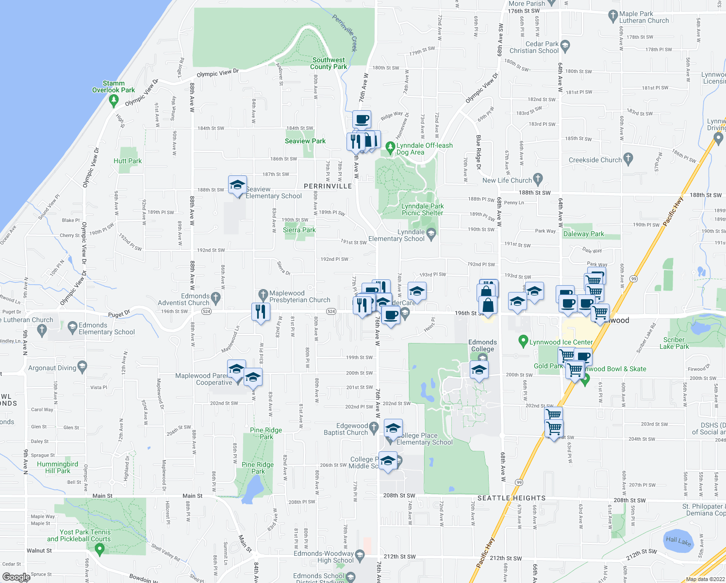 map of restaurants, bars, coffee shops, grocery stores, and more near 7625 194th Street Southwest in Edmonds