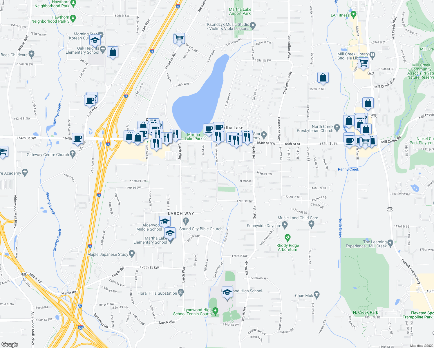 map of restaurants, bars, coffee shops, grocery stores, and more near 16633-16695 6th Avenue West in Lynnwood