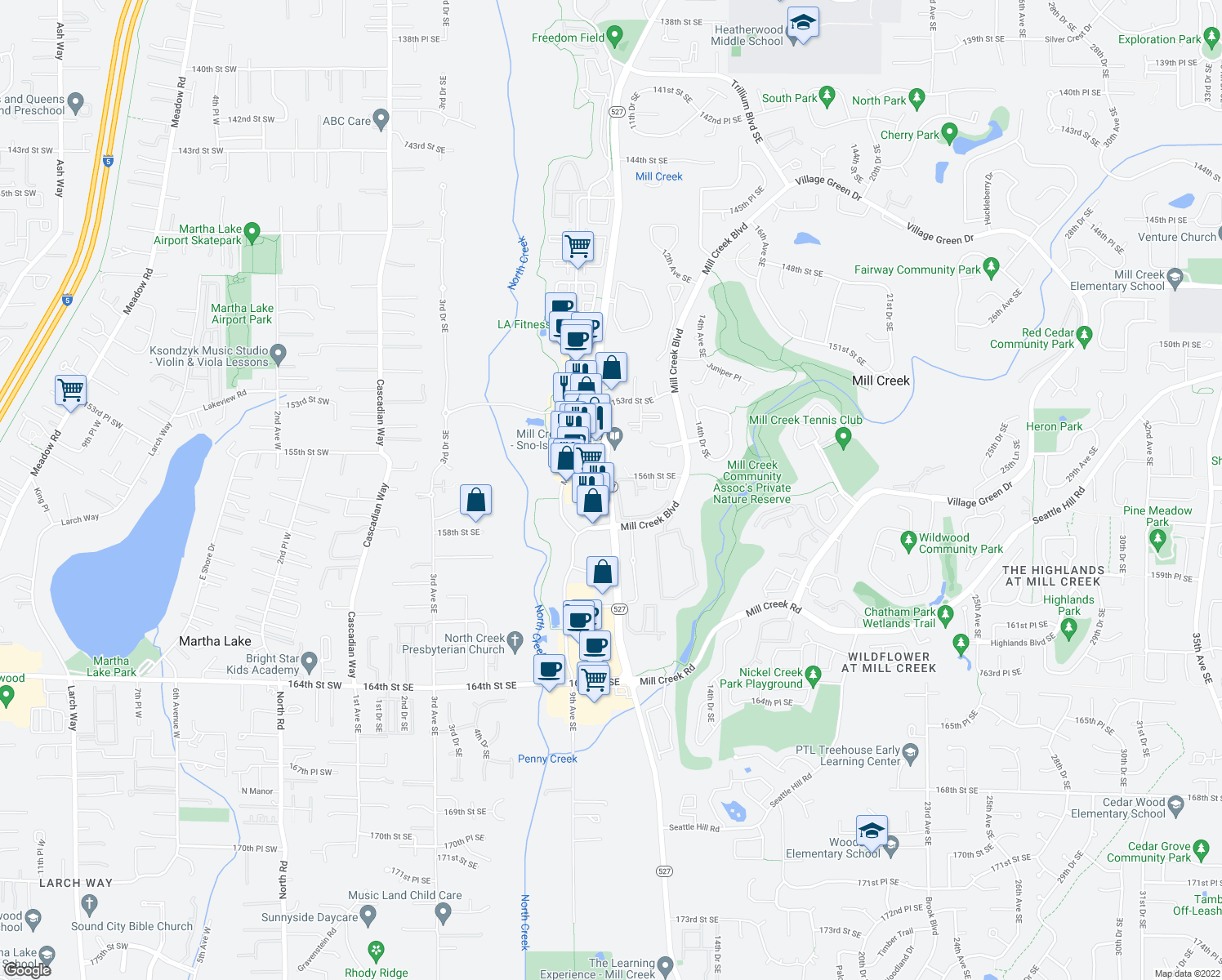 map of restaurants, bars, coffee shops, grocery stores, and more near 15722-15736 Bothell Everett Highway in Mill Creek