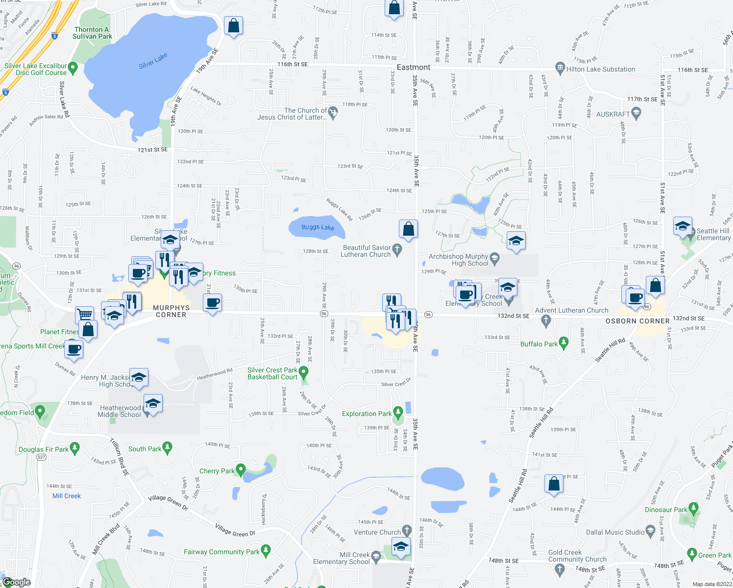 map of restaurants, bars, coffee shops, grocery stores, and more near 3125 132nd Street Southeast in Everett