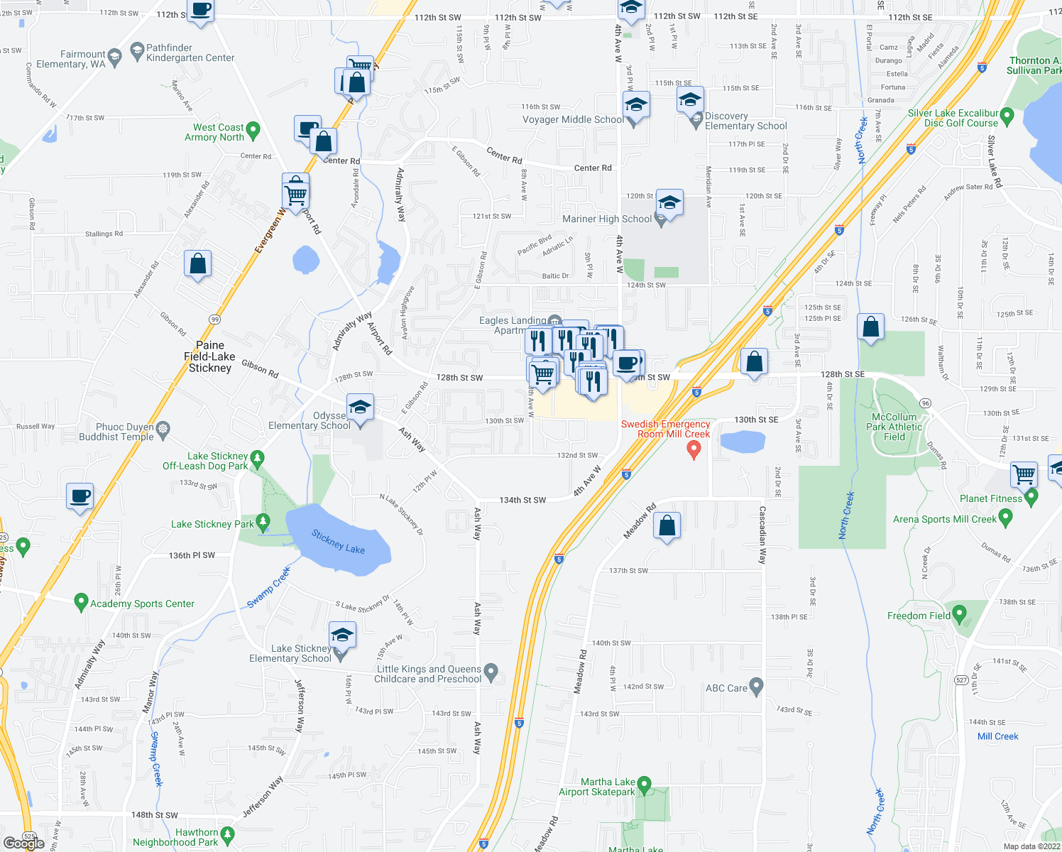 map of restaurants, bars, coffee shops, grocery stores, and more near 12901-12999 8th Ave W in Everett
