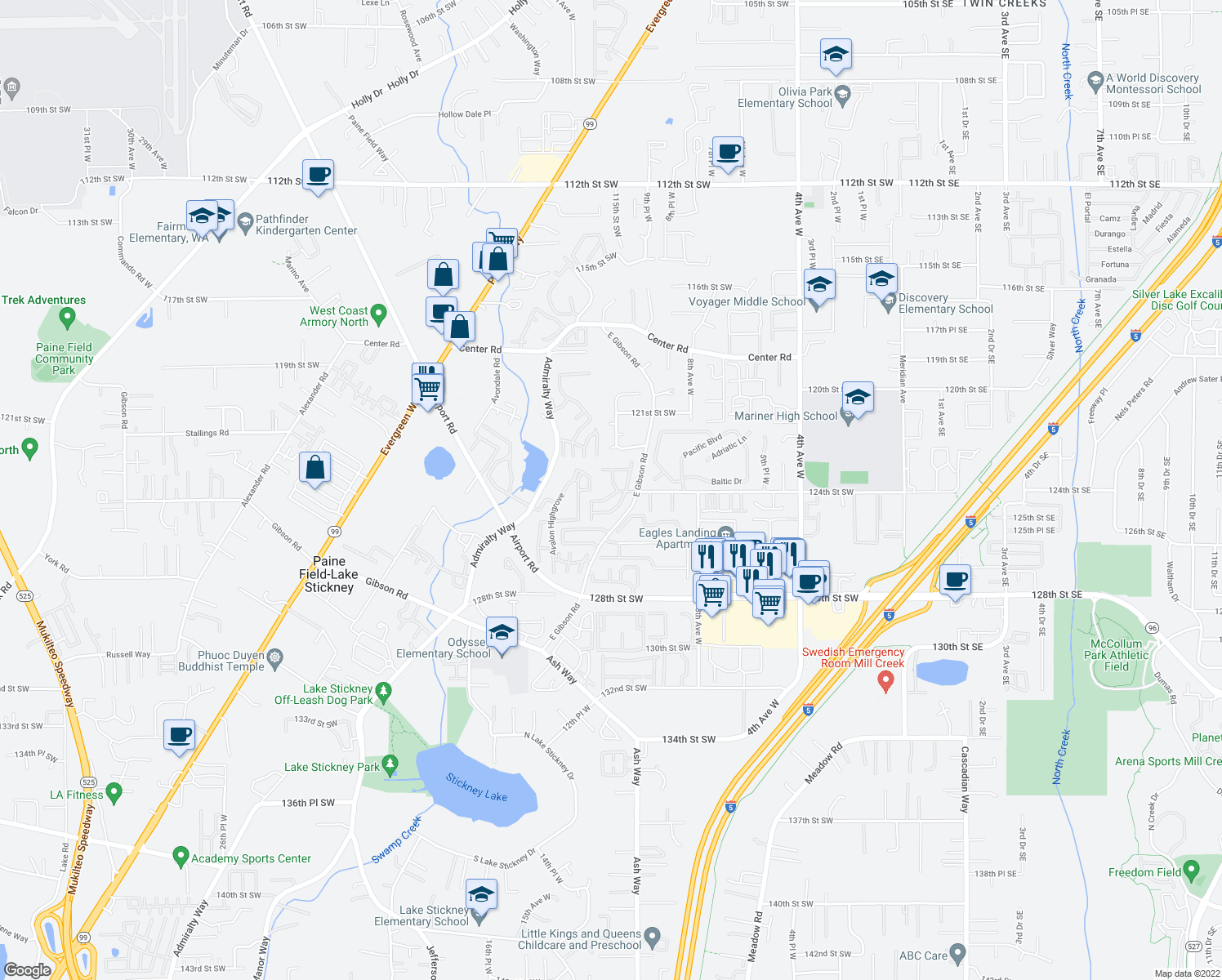 map of restaurants, bars, coffee shops, grocery stores, and more near 12404 E Gibson Rd in Everett