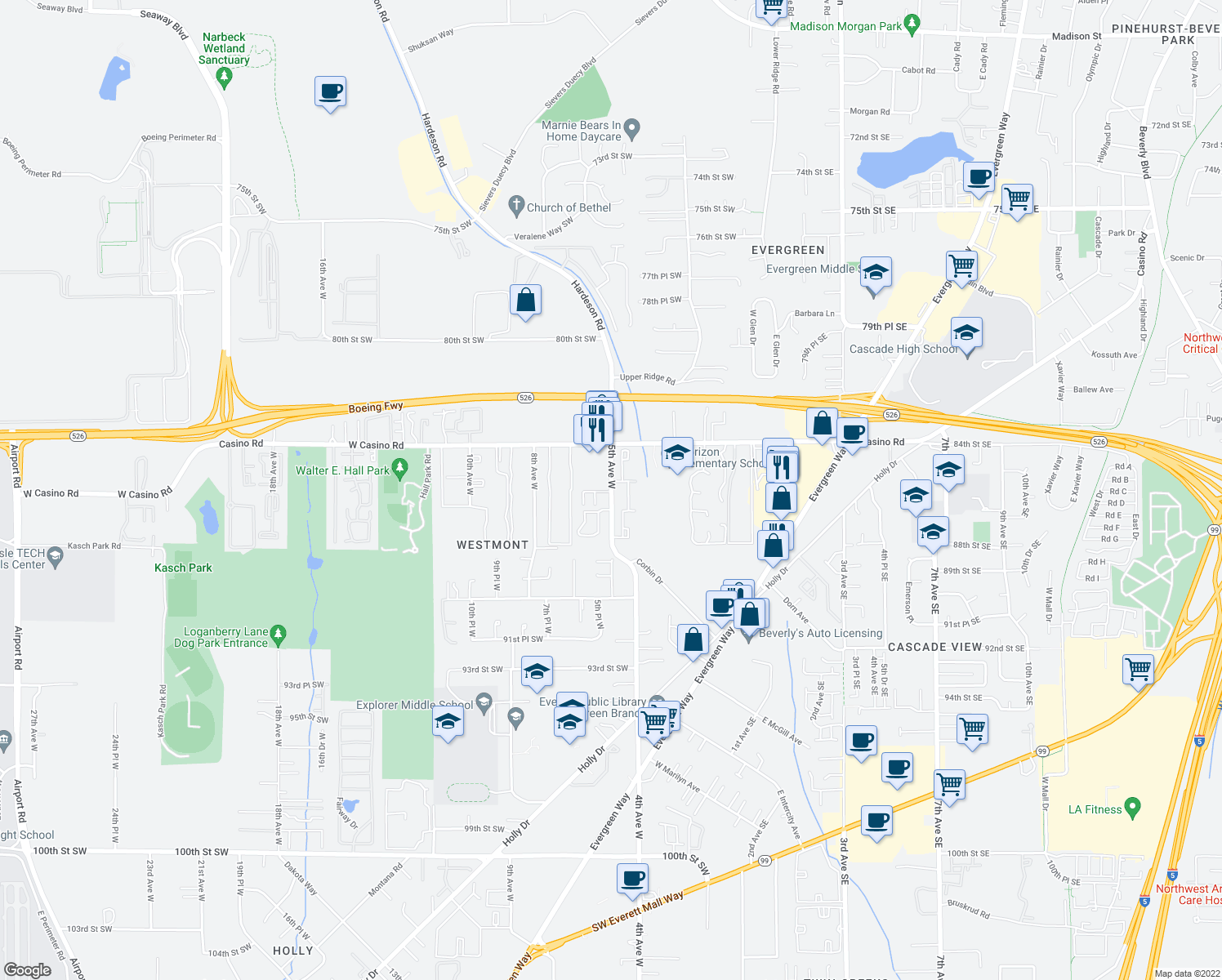 map of restaurants, bars, coffee shops, grocery stores, and more near 8520 5th Avenue West in Everett