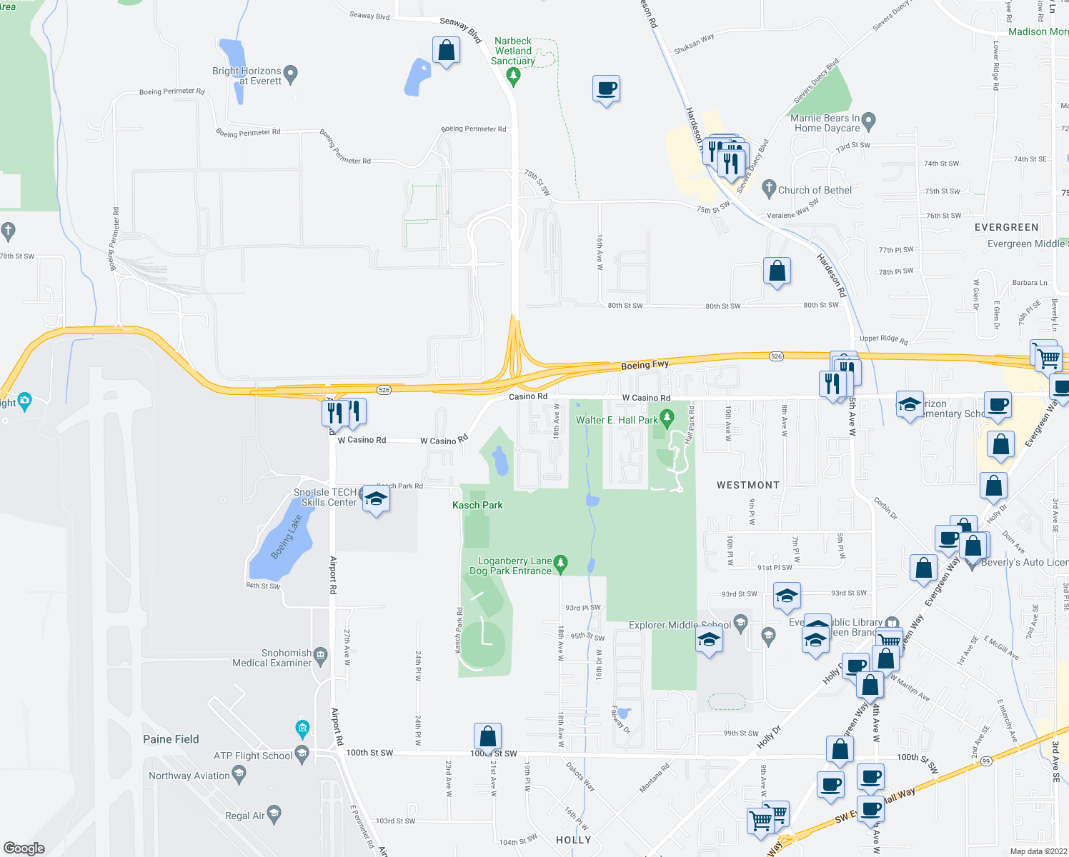 map of restaurants, bars, coffee shops, grocery stores, and more near 1910 West Casino Road in Everett