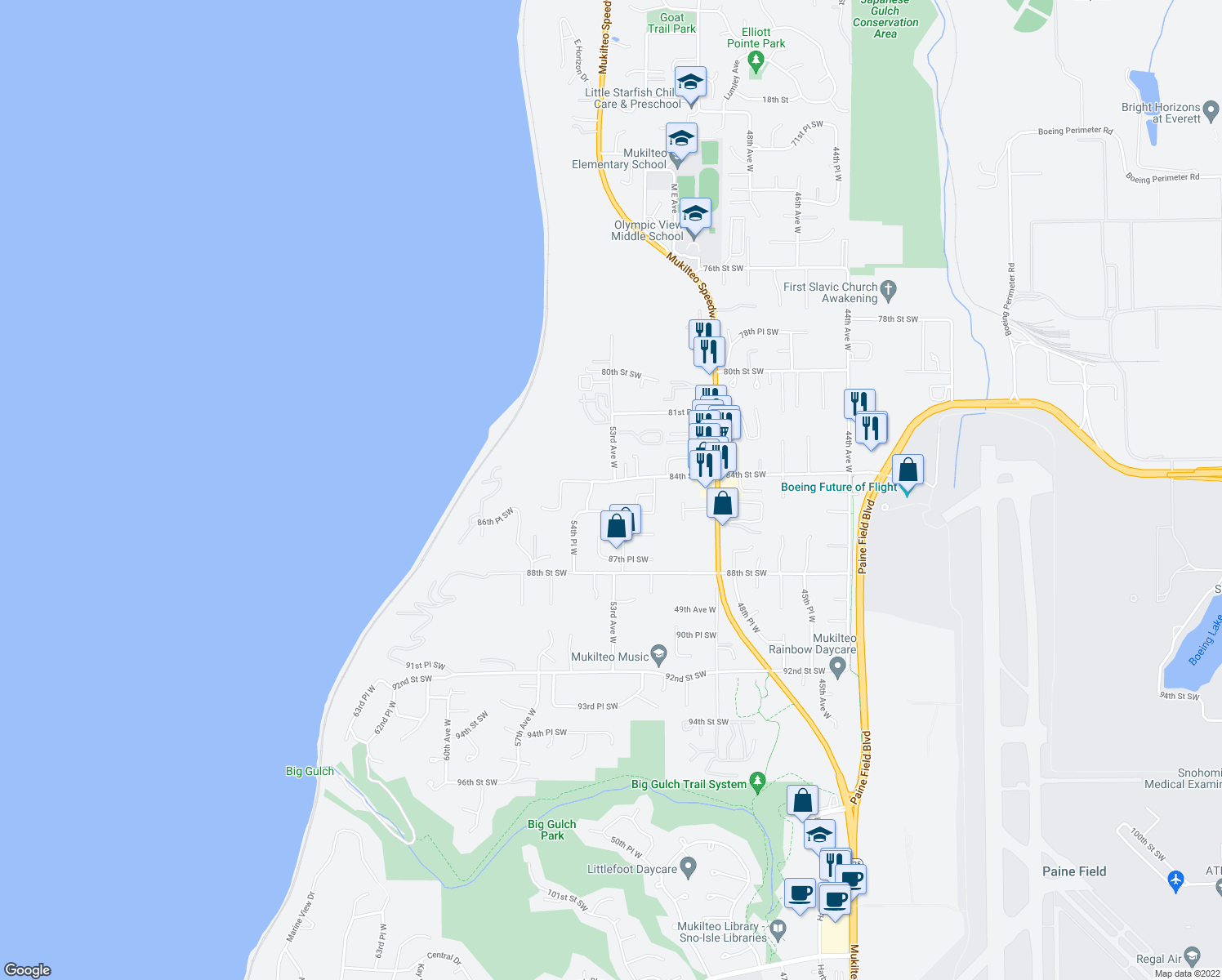 map of restaurants, bars, coffee shops, grocery stores, and more near 8311-8399 53rd Ave W in Mukilteo