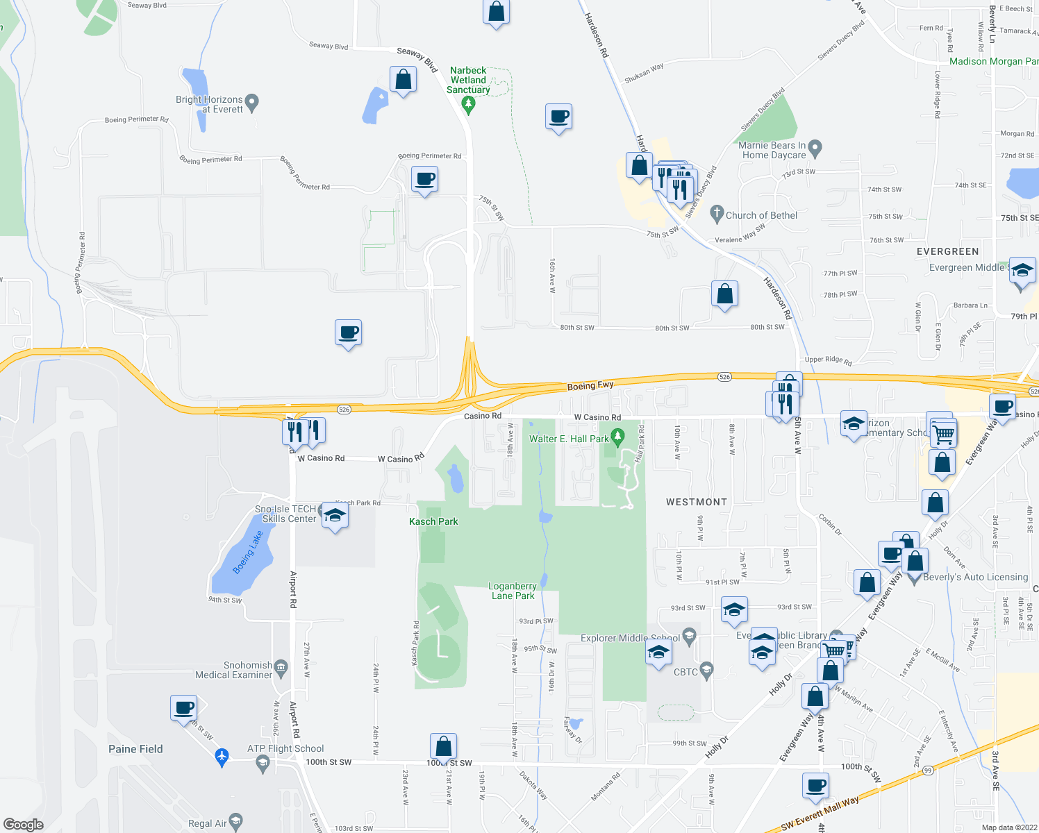 map of restaurants, bars, coffee shops, grocery stores, and more near 1457-1653 W Casino Rd in Everett