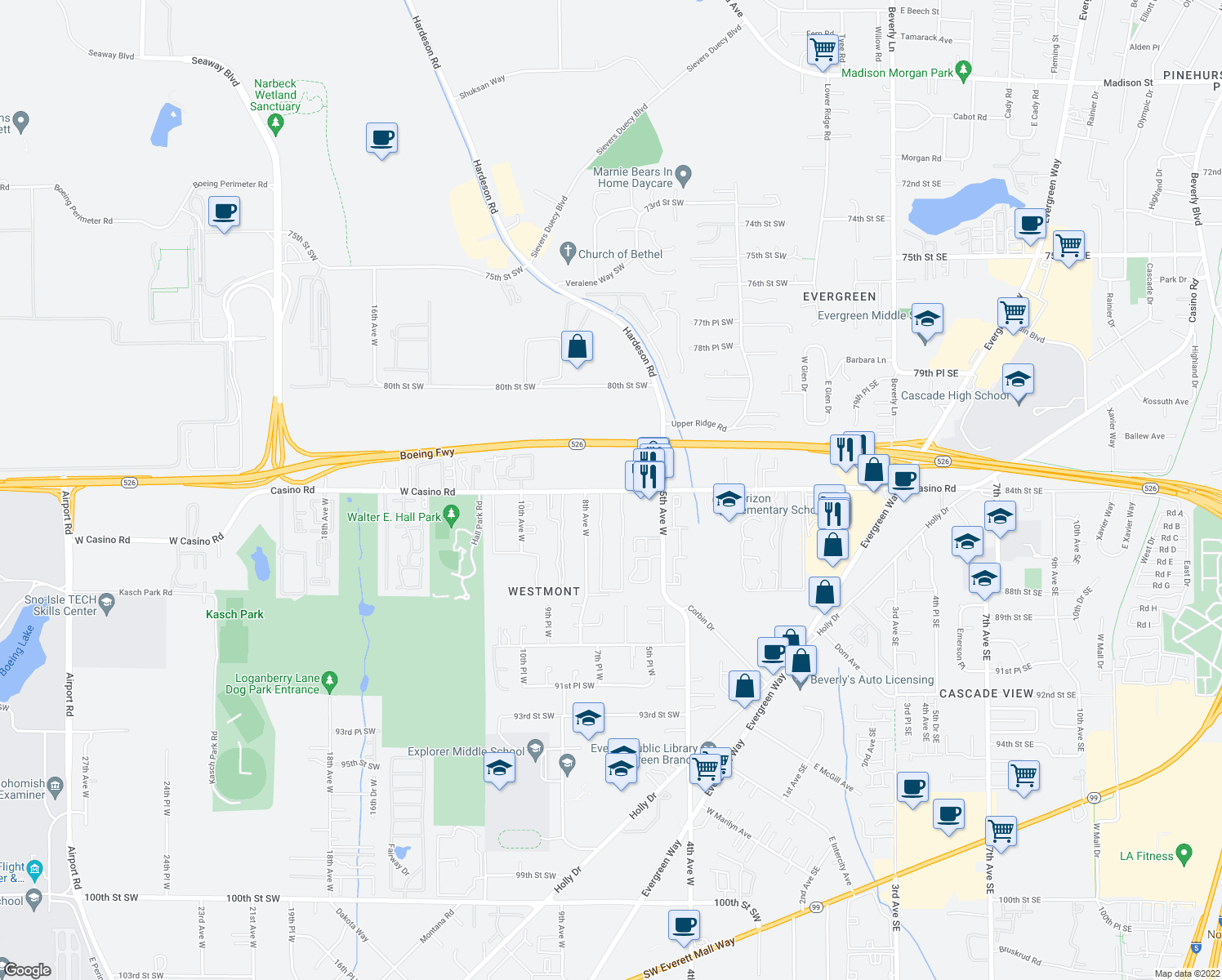 map of restaurants, bars, coffee shops, grocery stores, and more near 605 West Casino Road in Everett