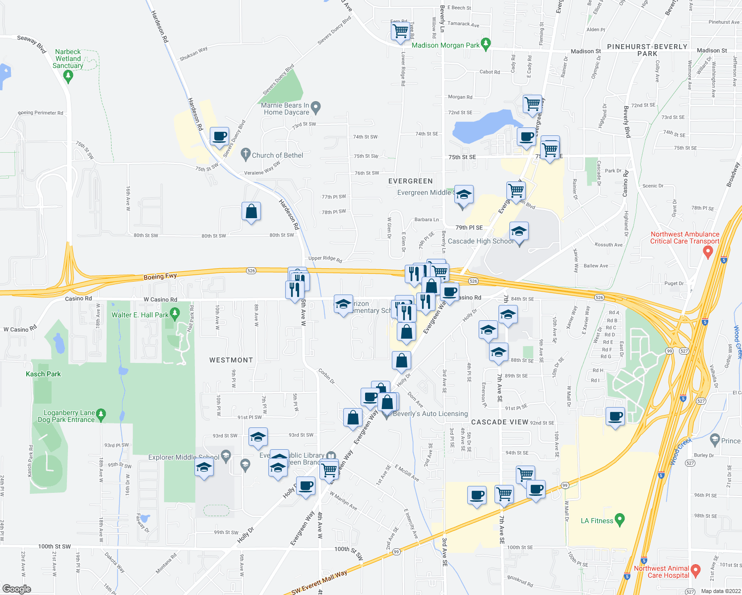 map of restaurants, bars, coffee shops, grocery stores, and more near 61-77 W Casino Rd in Everett