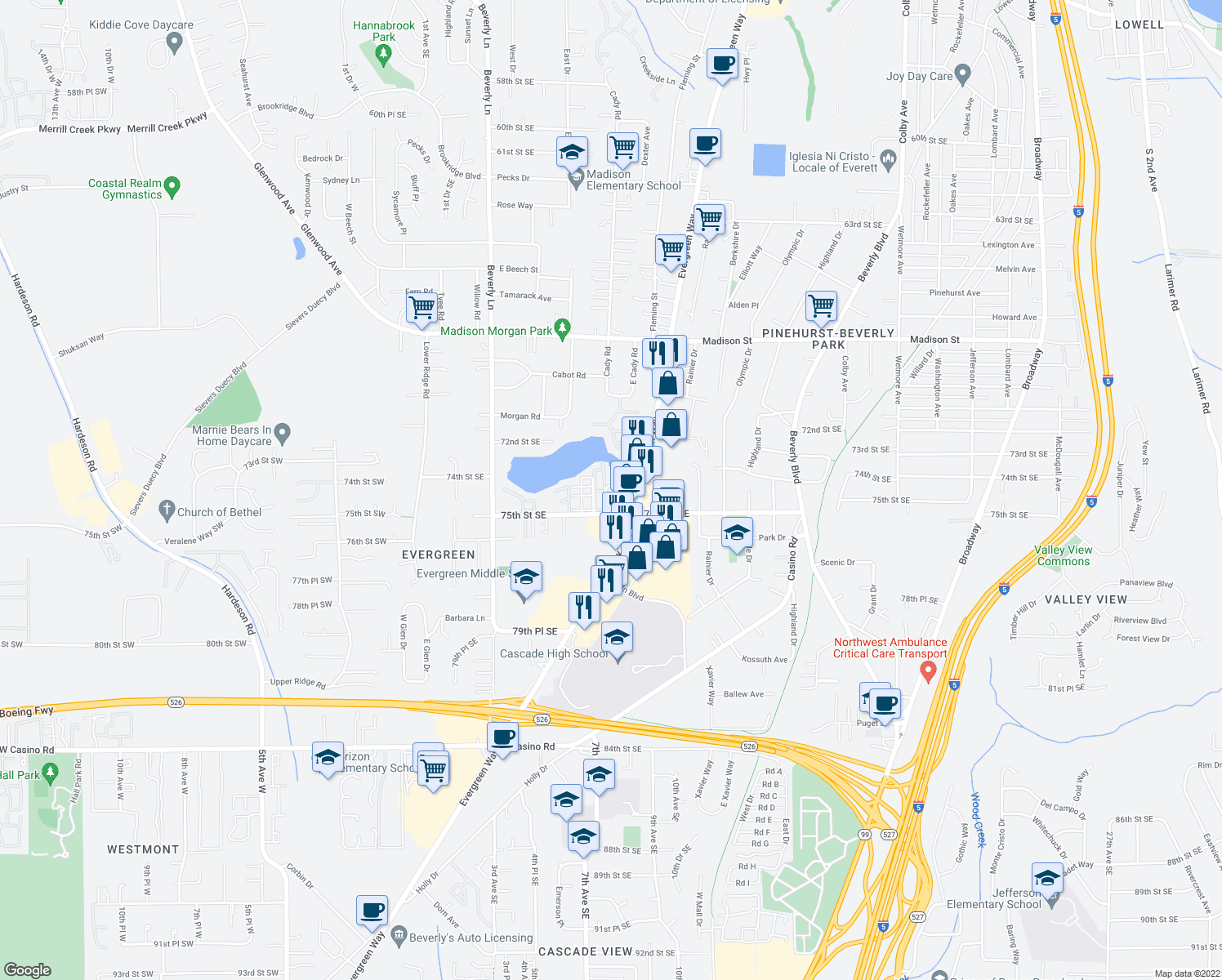 map of restaurants, bars, coffee shops, grocery stores, and more near 7428 Evergreen Way in Everett