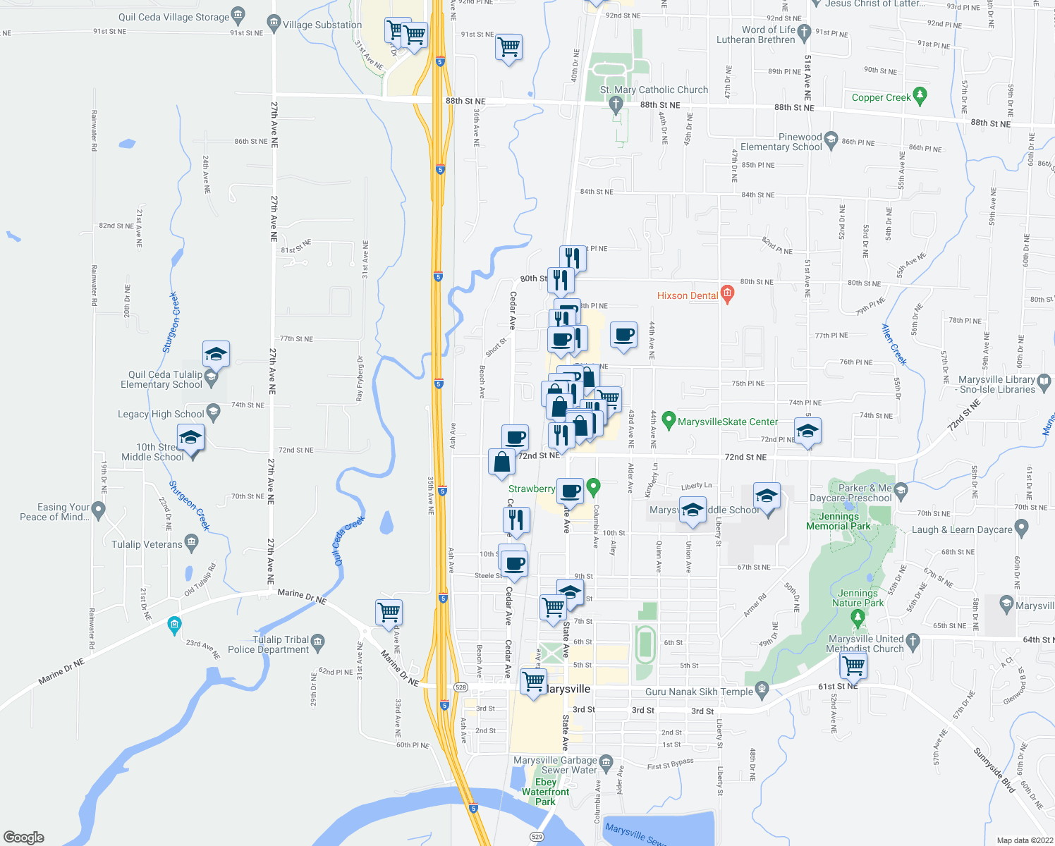 map of restaurants, bars, coffee shops, grocery stores, and more near 1248 Cedar Avenue in Marysville