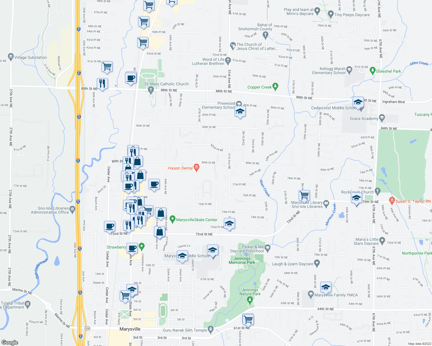 map of restaurants, bars, coffee shops, grocery stores, and more near 7904-7908 50th Dr NE in Marysville