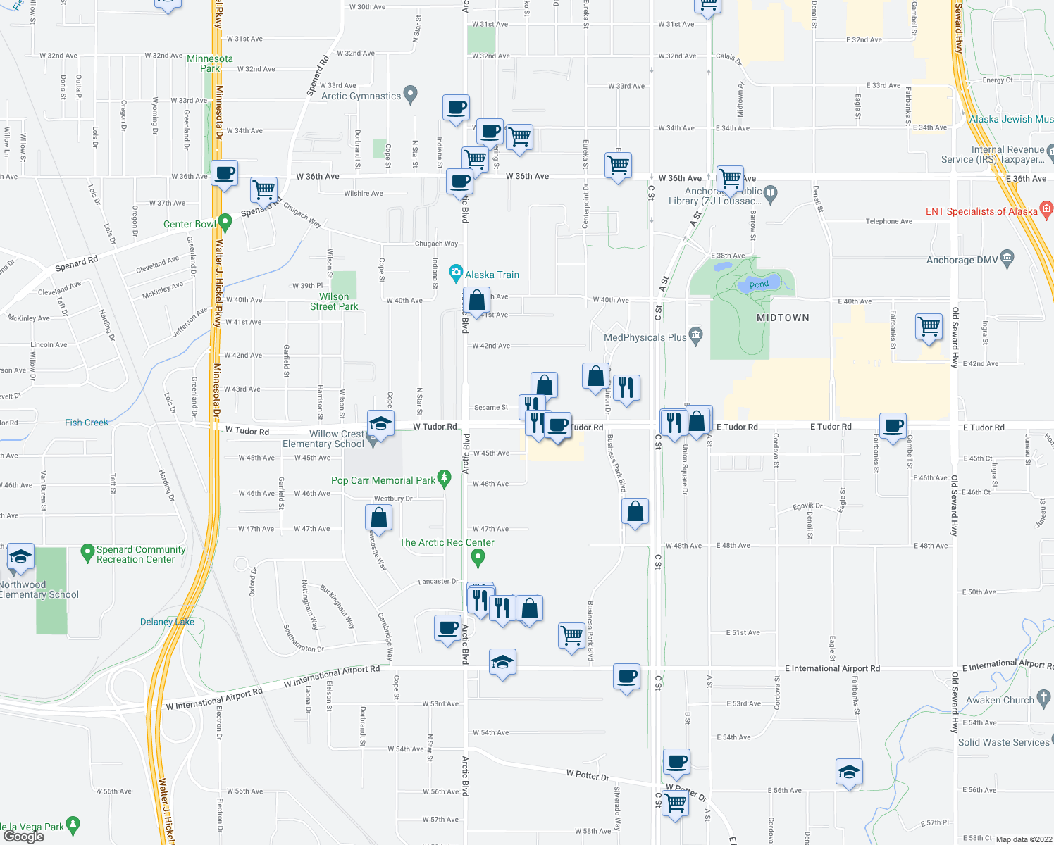 map of restaurants, bars, coffee shops, grocery stores, and more near W Tudor Rd & Bering St in Anchorage
