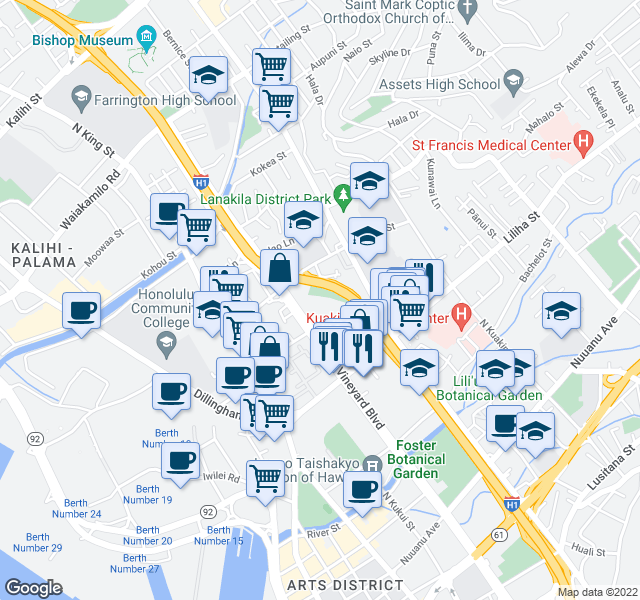 map of restaurants, bars, coffee shops, grocery stores, and more near 1428 Pua Ln in Honolulu