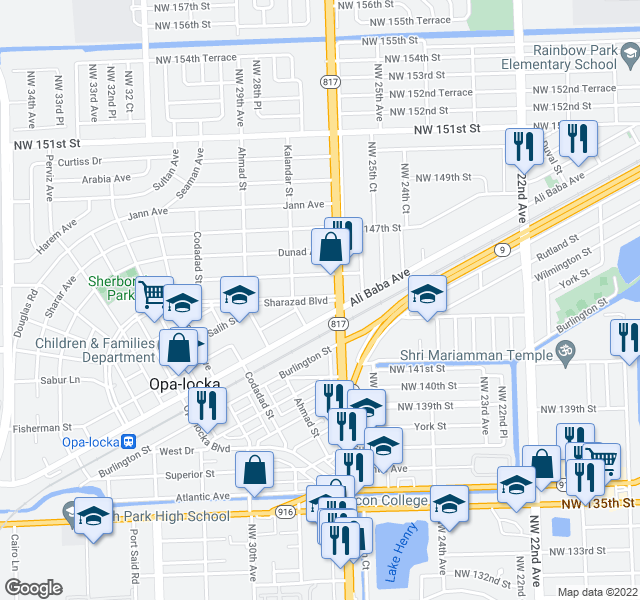 map of restaurants, bars, coffee shops, grocery stores, and more near 14352-14380 NW 27th Ave in Opa-locka