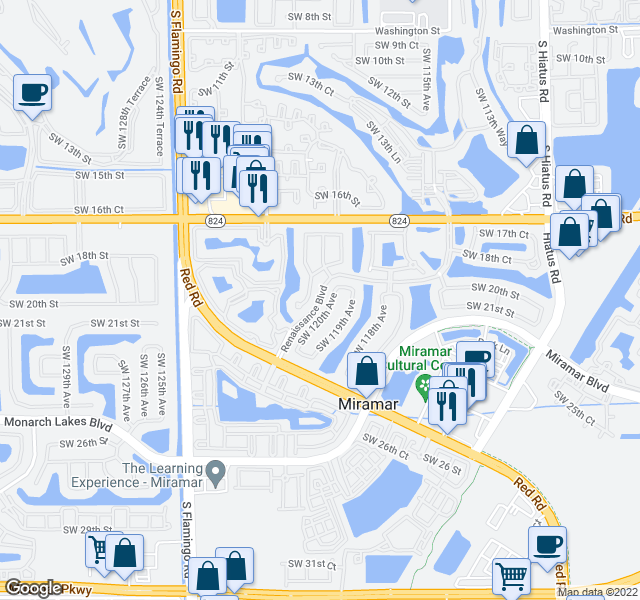 map of restaurants, bars, coffee shops, grocery stores, and more near 2175-2277 Renaissance Blvd in Miramar