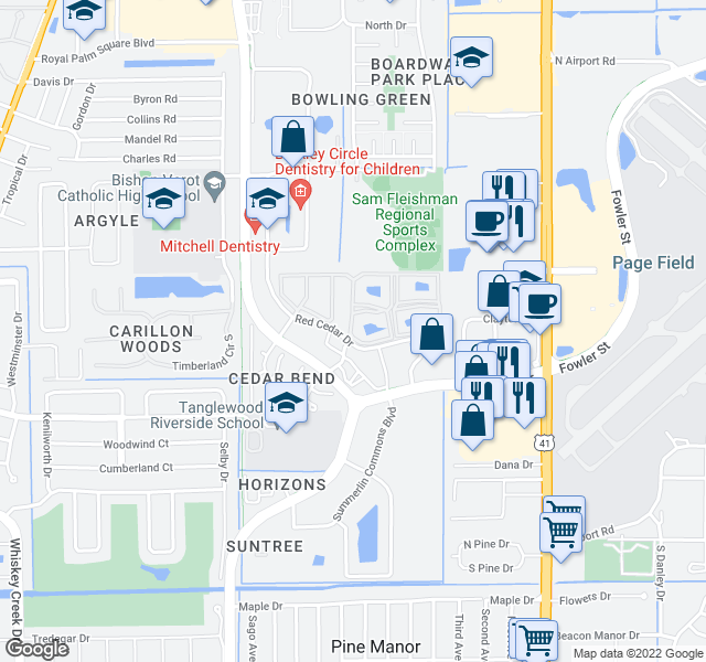 map of restaurants, bars, coffee shops, grocery stores, and more near 1623 Red Cedar Drive in Fort Myers