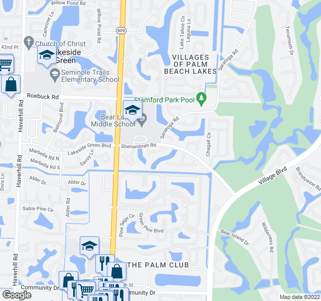 map of restaurants, bars, coffee shops, grocery stores, and more near 587 Green Springs Place in West Palm Beach