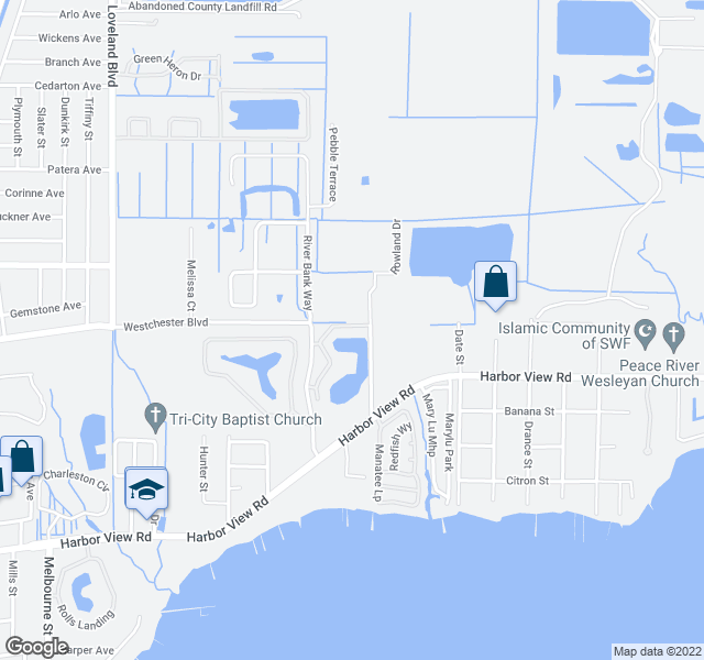 map of restaurants, bars, coffee shops, grocery stores, and more near 4008 Oakview Drive in Port Charlotte