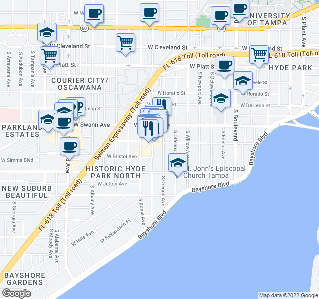 map of restaurants, bars, coffee shops, grocery stores, and more near 732 South Village Circle in Tampa