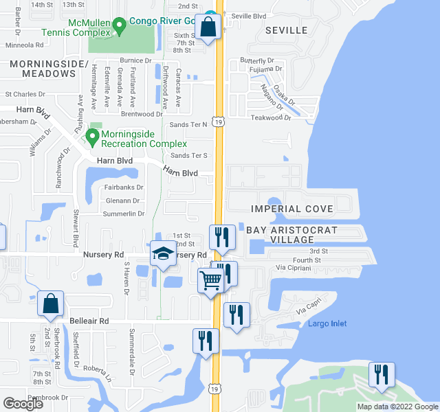 map of restaurants, bars, coffee shops, grocery stores, and more near Imperial Cove in Clearwater