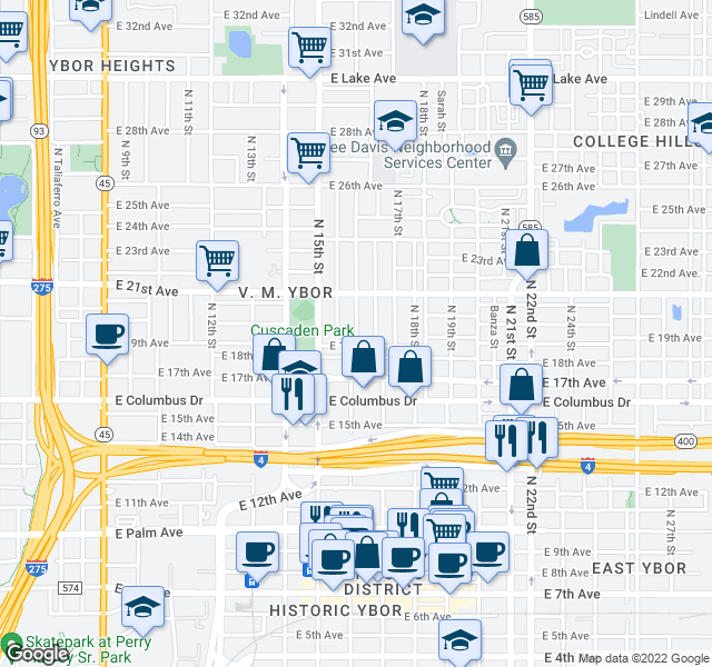 map of restaurants, bars, coffee shops, grocery stores, and more near 2908 N 16th St in Tampa