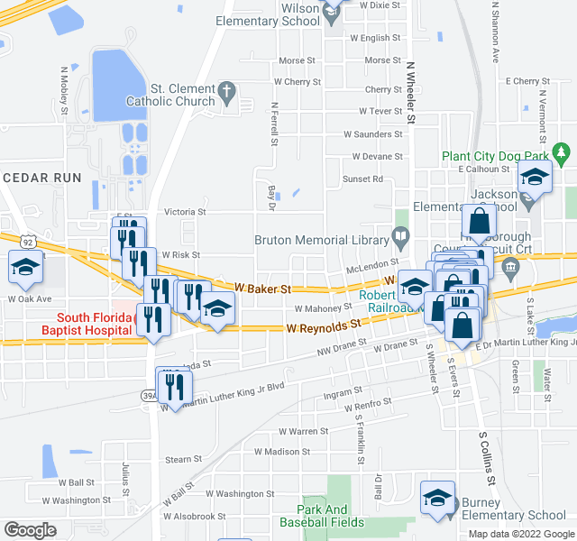 map of restaurants, bars, coffee shops, grocery stores, and more near 906-944 Highway 600 in Plant City