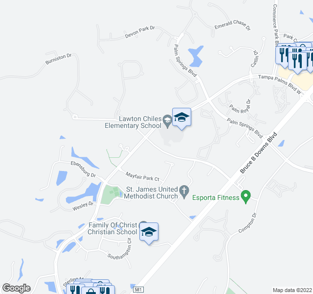 map of restaurants, bars, coffee shops, grocery stores, and more near 5198-5100 Cypress Preserve Dr in Tampa