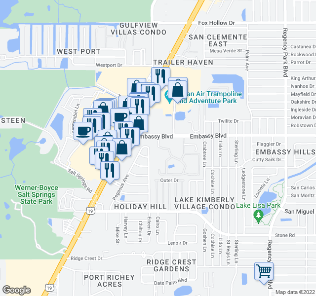 map of restaurants, bars, coffee shops, grocery stores, and more near 2 Valleyview Lane in Port Richey