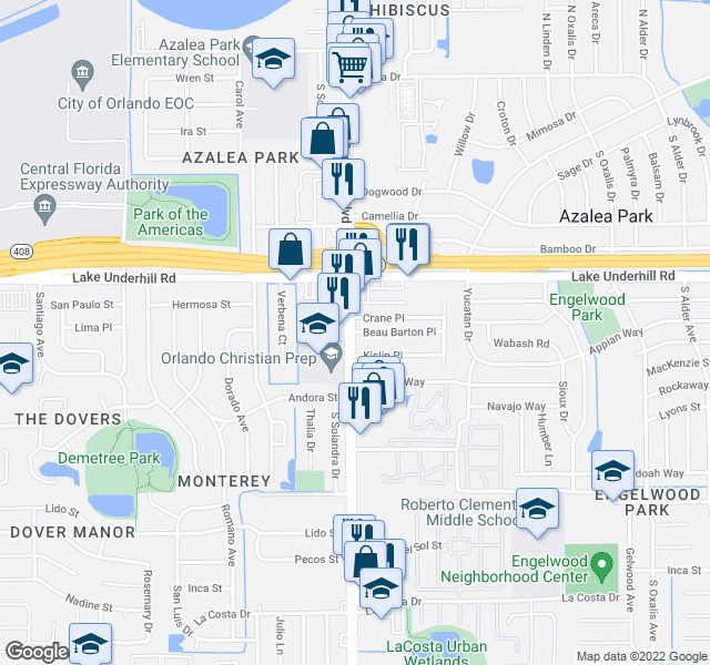 map of restaurants, bars, coffee shops, grocery stores, and more near 484-510 S Semoran Blvd in Orlando