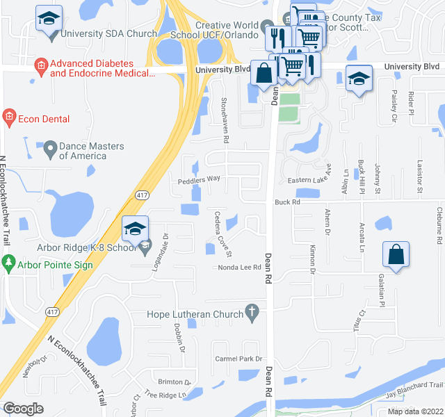 map of restaurants, bars, coffee shops, grocery stores, and more near 9927 Kona Isle Court in Orlando
