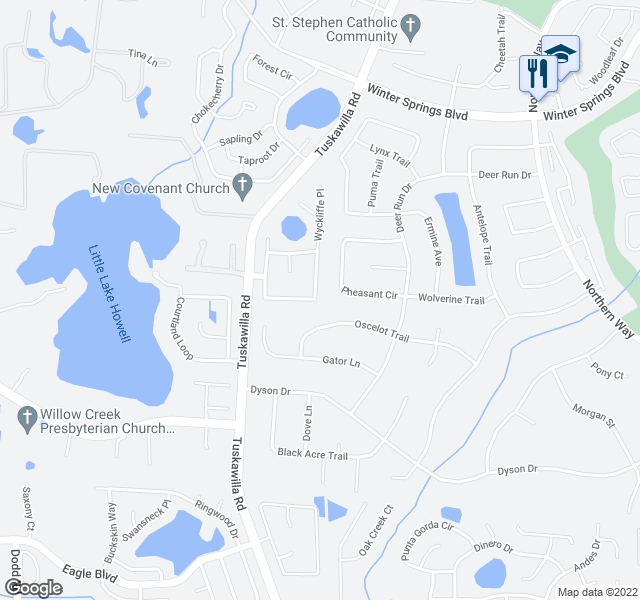 map of restaurants, bars, coffee shops, grocery stores, and more near 764 Windwillow Cir in Winter Springs