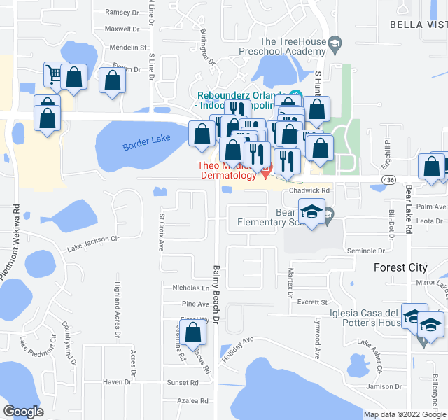 map of restaurants, bars, coffee shops, grocery stores, and more near 3024 Orleans Way N in Apopka