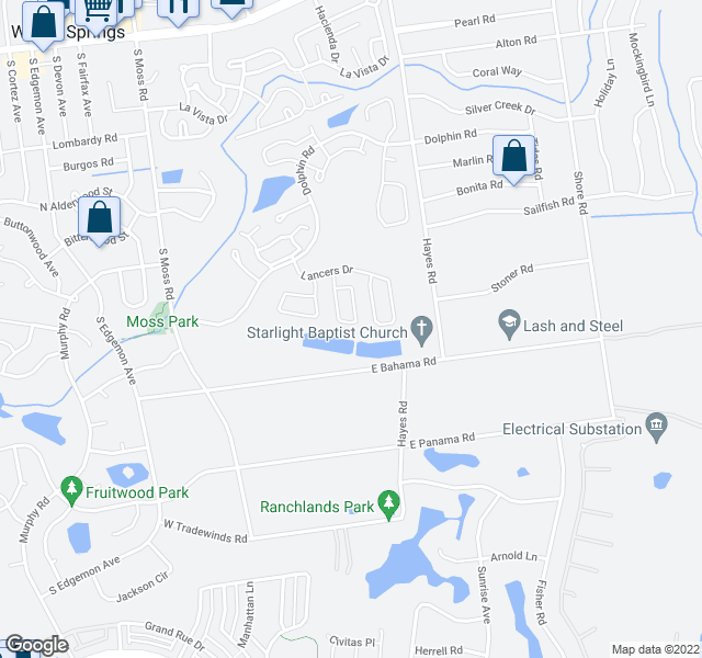 map of restaurants, bars, coffee shops, grocery stores, and more near 322 Riunite Circle in Winter Springs