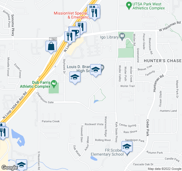 map of restaurants, bars, coffee shops, grocery stores, and more near 13011 Kyle Seale Pkwy in San Antonio