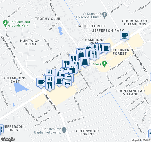 map of restaurants, bars, coffee shops, grocery stores, and more near 5050 FM 1960 Rd W in Houston