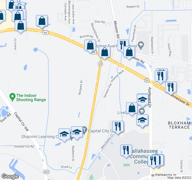 map of restaurants, bars, coffee shops, grocery stores, and more near Senator Pat Thomas Blvd in Tallahassee