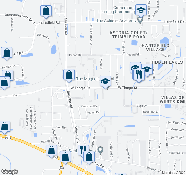 map of restaurants, bars, coffee shops, grocery stores, and more near 1827 Seay Ct in Tallahassee