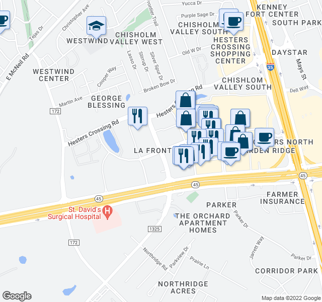 map of restaurants, bars, coffee shops, grocery stores, and more near 2601 La Frontera Boulevard in Round Rock