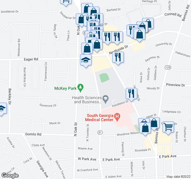 map of restaurants, bars, coffee shops, grocery stores, and more near 2700-2898 State Route 31 Alt in Valdosta