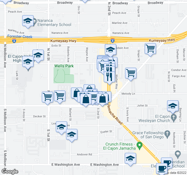 map of restaurants, bars, coffee shops, grocery stores, and more near 314 Shady Ln in El Cajon