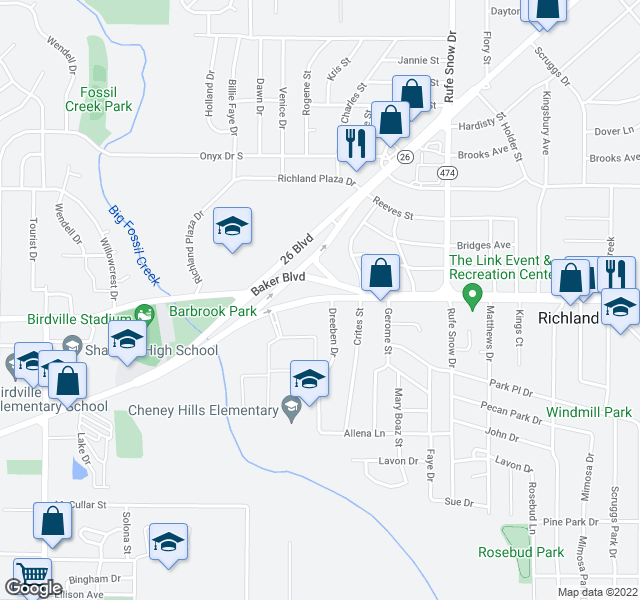 map of restaurants, bars, coffee shops, grocery stores, and more near 6300-6398 Baker Boulevard in Richland Hills